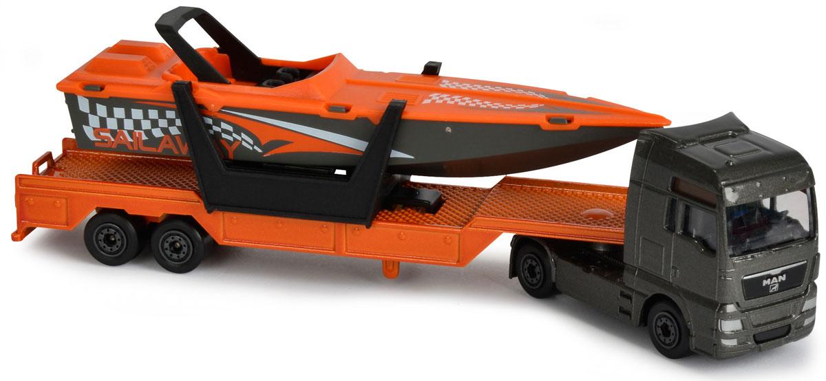 Majorette Транспортер с катером MAN TGA XXL majorette creatix игрушечный трек starter pack