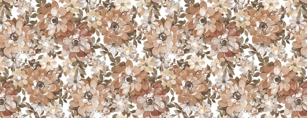 Столовая клеенка L'Cadesi Florista, цвет: коричневый, белый, 130 х 165 см. FL130165-132-03
