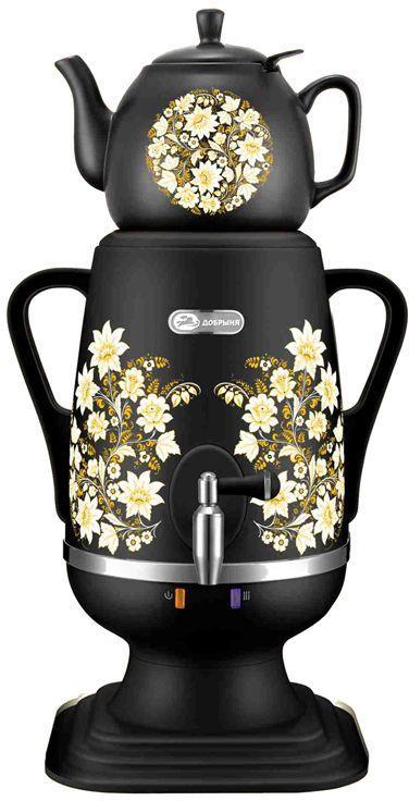 Добрыня DO-412 электрический самоварDO-412Самовар DO-412 станет прекрасной альтернативой обычному чайнику. Украшенный росписью в исконно-русском стиле, он сделает ваш интерьер оригинальным и подчеркнет принадлежность к русской культуре. Кроме того, данная техника обладает рядом технических преимуществ: двойные стенки, наличие заварочного чайника, несколько температурных режимов, встроенный термостат – все это значительно упрощает процесс использования самовара. Вода в самоваре нагревается максимально быстро, и ее температура удерживается длительно время. Самовар Добрыня станет прекрасным и оригинальным подарком к любому празднику! Технические характеристики:- Объём: 4 л- Материал: пластик- Керамический заварочный чайник 1 л со съёмным фильтром из нержавеющей стали в комплекте- Хромированный кран- Может работать в режиме поддержания температуры- Мощность при закипании 1850 Вт- Мощность в режиме поддержания температуры 100 Вт- Напряжение сети 220 В- Дисковый нагреватель, световая индикация работы, автоматическое отключение, защита от перегрева при выкипании воды.