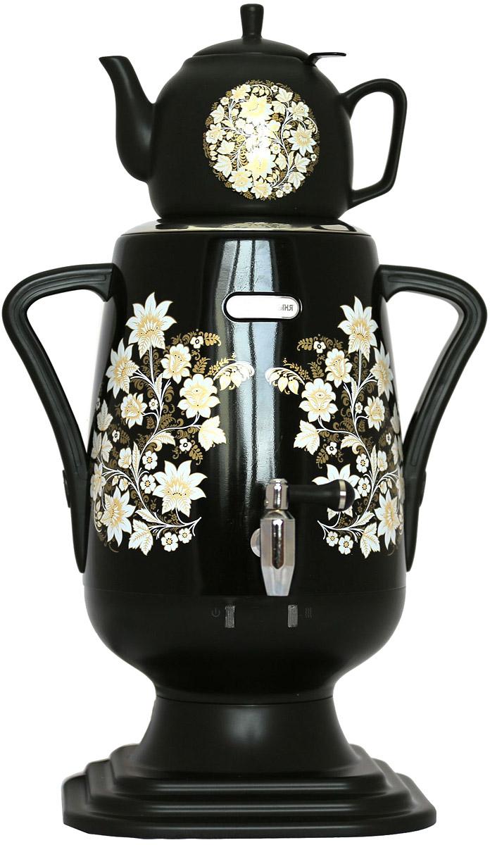 Добрыня DO-419 электрический самоварDO-419Самовар DO-419 станет прекрасной альтернативой обычному чайнику. Украшенный росписью в исконно-русском стиле, он сделает ваш интерьер оригинальным и подчеркнет принадлежность к русской культуре. Кроме того, данная техника обладает рядом технических преимуществ: двойные стенки, наличие заварочного чайника, несколько температурных режимов, встроенный термостат – все это значительно упрощает процесс использования самовара. Вода в самоваре нагревается максимально быстро, и ее температура удерживается длительно время. Самовар Добрыня станет прекрасным и оригинальным подарком к любому празднику!Технические характеристики: - керамический заварочный чайник 1 л. со сменным моющимся фильтром из нержавеющей стали в комплекте- хромированный кран- функция термопота- мощность при закипании 1850 Вт- мощность в режиме подогрева 100 Вт- напряжение сети 220 В- дисковой нагреватель, световая индикация работы, автоматическое отключение, защита от перегрева при выкипании воды.