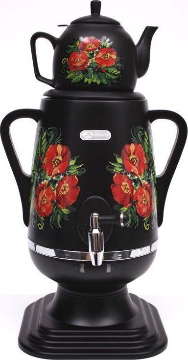 Добрыня DO-423 электрический самоварDO-423Самовар DO-423 станет прекрасной альтернативой обычному чайнику. Украшенный росписью в исконно-русском стиле, он сделает ваш интерьер оригинальным и подчеркнет принадлежность к русской культуре. Кроме того, данная техника обладает рядом технических преимуществ: двойные стенки, наличие заварочного чайника, несколько температурных режимов, встроенный термостат – все это значительно упрощает процесс использования самовара. Вода в самоваре нагревается максимально быстро, и ее температура удерживается длительно время. Самовар Добрыня станет прекрасным и оригинальным подарком к любому празднику! Технические характеристики:- Объём: 4 л- Материал: пластик- Керамический заварочный чайник 1 л со съёмным фильтром из нержавеющей стали в комплекте- Хромированный кран- Может работать в режиме поддержания температуры- Мощность при закипании 1850 Вт- Мощность в режиме поддержания температуры 100 Вт- Напряжение сети 220 В- Дисковый нагреватель, световая индикация работы, автоматическое отключение, защита от перегрева при выкипании воды.