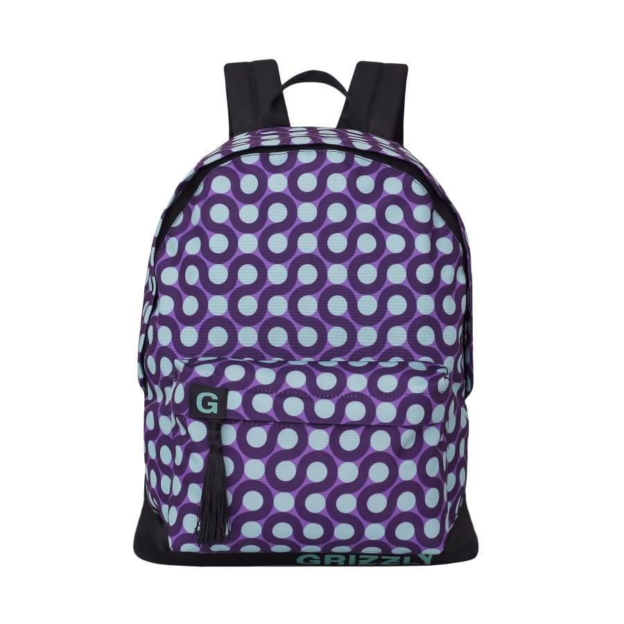Рюкзак городской женский Grizzly, цвет: фиолетовый, светло-голубой. RD-750-6/5RD-750-6/5Рюкзак городской Grizzl выполнен из высококачественного нейлона в сочетании с полиэстероми оформлен оригинальным принтом. Рюкзак имеет ручку-петлю для подвешивания и две удобные лямки, длина которых регулируется с помощью пряжек. Модель имеет одно основное отделение на молнии, с внутренним подвесным карманом. Передняя сторона оформлена объемным карманом на застежке-молнии. Тыльная сторона рюкзака имеет укрепленную спинку.