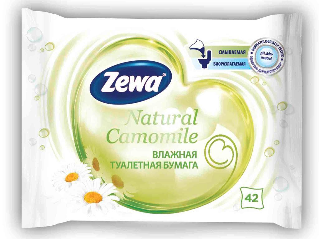 Влажная туалетная бумага Zewa Natural camomile, 42 шт6786Влажная туалетная бумага Zewa обеспечит мягкое очищение и подарит ощущение свежести. Смываемая, биоразлагаемая, одобрена дерматологами, PH-нейтральная для кожи. В упаковке 42 белых влажных листка без аромата с натуральным экстрактом ромашки.Товар сертифицирован.