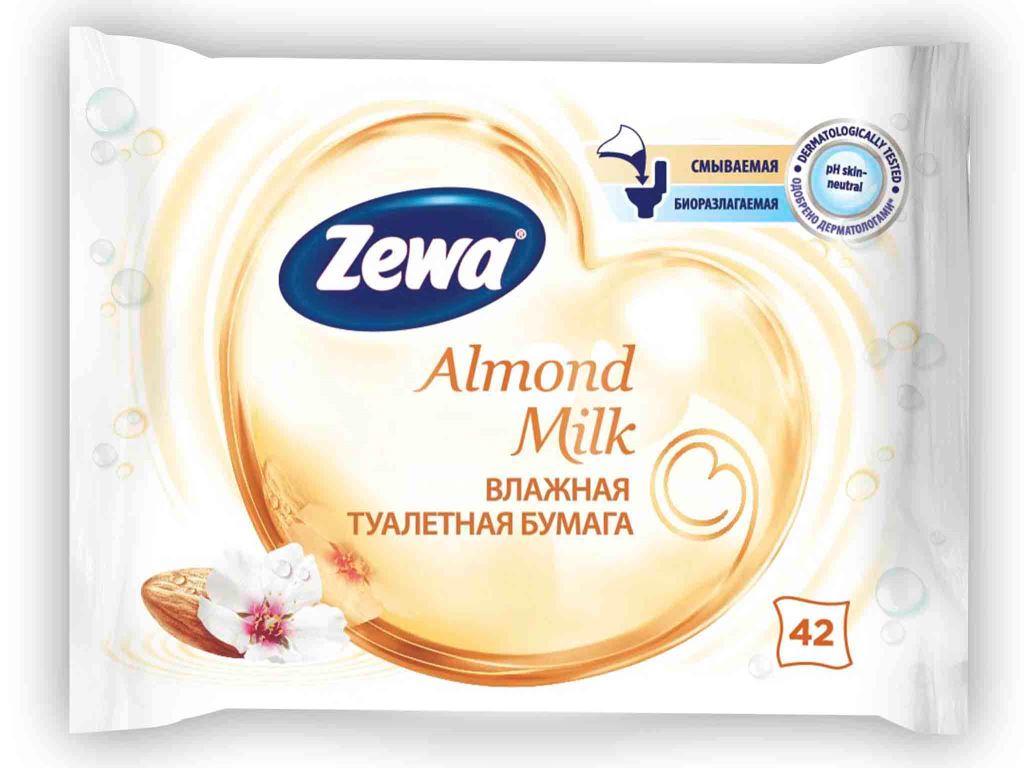 Влажная туалетная бумага Zewa Миндальное молочко, 42 шт