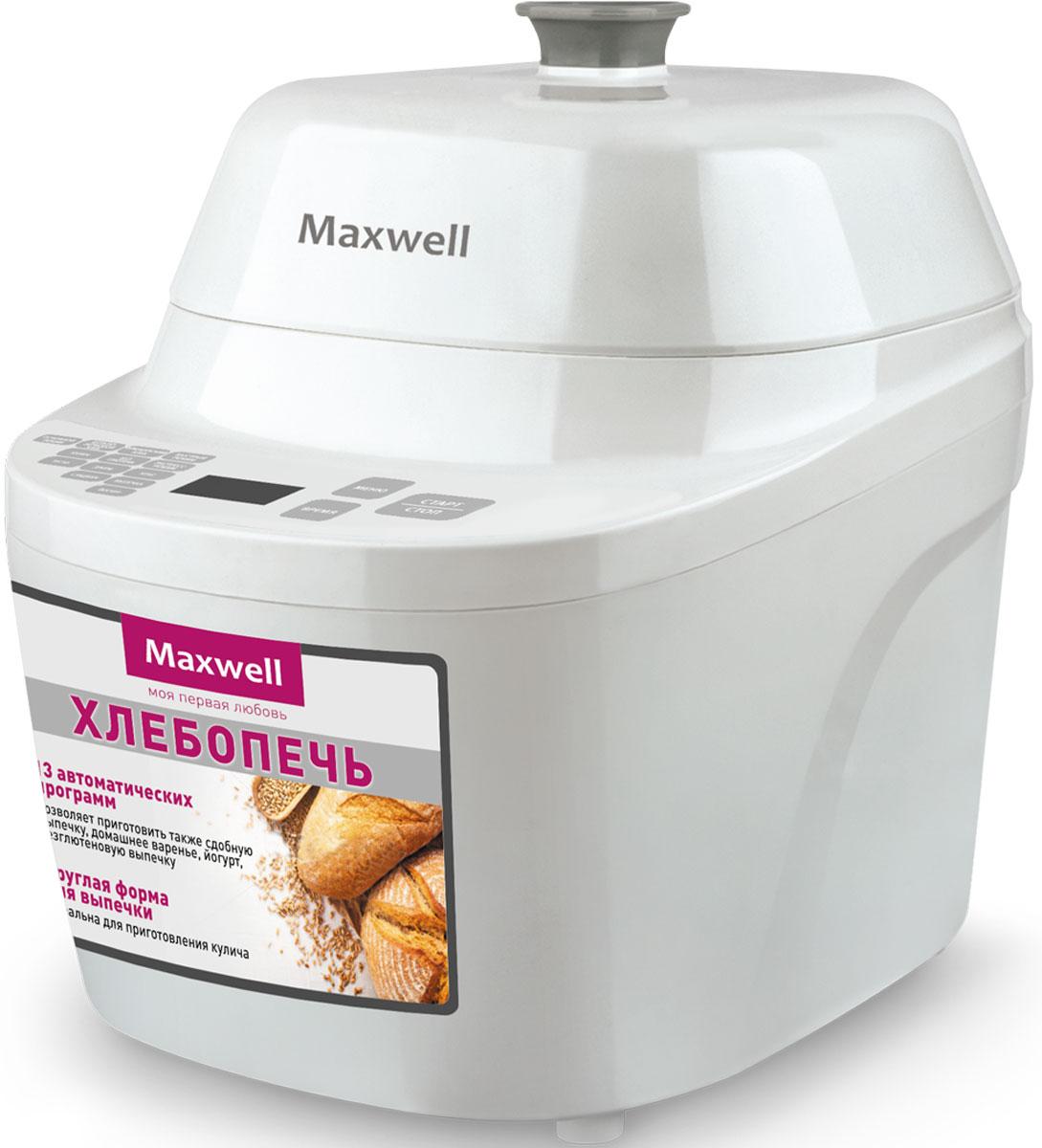 Maxwell MW-3755(W) хлебопечьMW-3755(W)Главной особенностью хлебопечи Maxwell MW-3755(W) является круглая форма для выпечки. Таким образом, данная модель отлично подойдет дляприготовления куличей, караваев, кексов и, конечно же, традиционного хлеба. Максимальный вес выпечки составляет 500 г.В хлебопечь заложено 13 автоматических программ, среди которых не только выпечка, но и специальные программы для варки варенья и приготовления йогурта. Также следует отметить возможность делать безглютеновую выпечку.Хлебопечь имеет электронное управление, все нюансы работы отображаются на цифровом дисплее. Можно воспользоваться таймером отсрочки (до 13 часов). Если заправить хлебопечь вечером, к завтраку можно получить свежую, горячую выпечку. В комплекте с Maxwell MW-3755(W) поставляется мерный стакан и ложка.