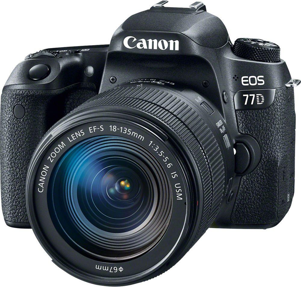 Canon EOS 77D Kit 18-135 IS USM цифровая зеркальная фотокамера1892C004Canon EOS 77D откроет вам новые творческие возможности в создании фотографий.Откройте для себя новые объекты и способы съемки. Современная система автофокусировки настраивает резкость именно там, где это необходимо, как при использовании оптического видоискателя, так и при использовании сенсорного экрана с высоким разрешением. Серийная съемка со скоростью до 6 кадров/сек. позволяет запечатлеть даже мимолетное выражение лица.Датчик изображения APS-C нового поколения позволяет создавать изображения с высокой детализацией даже в ярко освещенных и затененных местах. Самая быстрая в мире система автофокусировки в режиме Live View обеспечивает резкость изображений даже при съемке быстро движущихся объектов.Снимайте видео Full HD с кинематографическими эффектами малой глубины резкости и динамической передачей движения с частотой до 60 кадров/сек. Автофокусировка Dual Pixel CMOS AF сохраняет четкость объектов при изменении вашего положения, а встроенная система стабилизации изображения по 5 осям позволяет создавать плавное видео.Функции камеры EOS 77D, такие как колесо управления и сенсорный ЖК-экран с регулируемым углом наклона, дают вам больше возможностей управления и свободу творчества. На верхнем ЖК-экране отображается информация о настройках камеры.Сочетание беспроводных технологий Wi-Fi, Bluetooth и NFC значительно упрощает подключение к совместимым мобильным устройствам iOS и Android. Управляйте камерой дистанционно, в том числе в режиме Live View со смартфона или планшета, и делитесь изображениями с друзьями при помощи облачных сервисов.Общее количество пикселей: 25,8 Мпикс