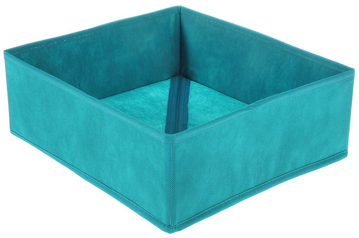 Органайзер Все на местах Minimalistic, цвет: бирюзовый, 32 х 32 х 11 см1012055Органайзер поможет удобно хранить вещи. Изделие выполнено из высококачественного нетканого материала, который обеспечивает естественную вентиляцию, позволяя воздуху проникать внутрь, но не пропускает пыль. Вставки из ПВХ хорошо держат форму. Изделие содержит одну большую секцию. Органайзер легко раскладывается и складывается.Оригинальный дизайн придется по вкусу ценителям эстетичного хранения. Размер органайзера в разложенном виде: 32 х 32 х 11 см.