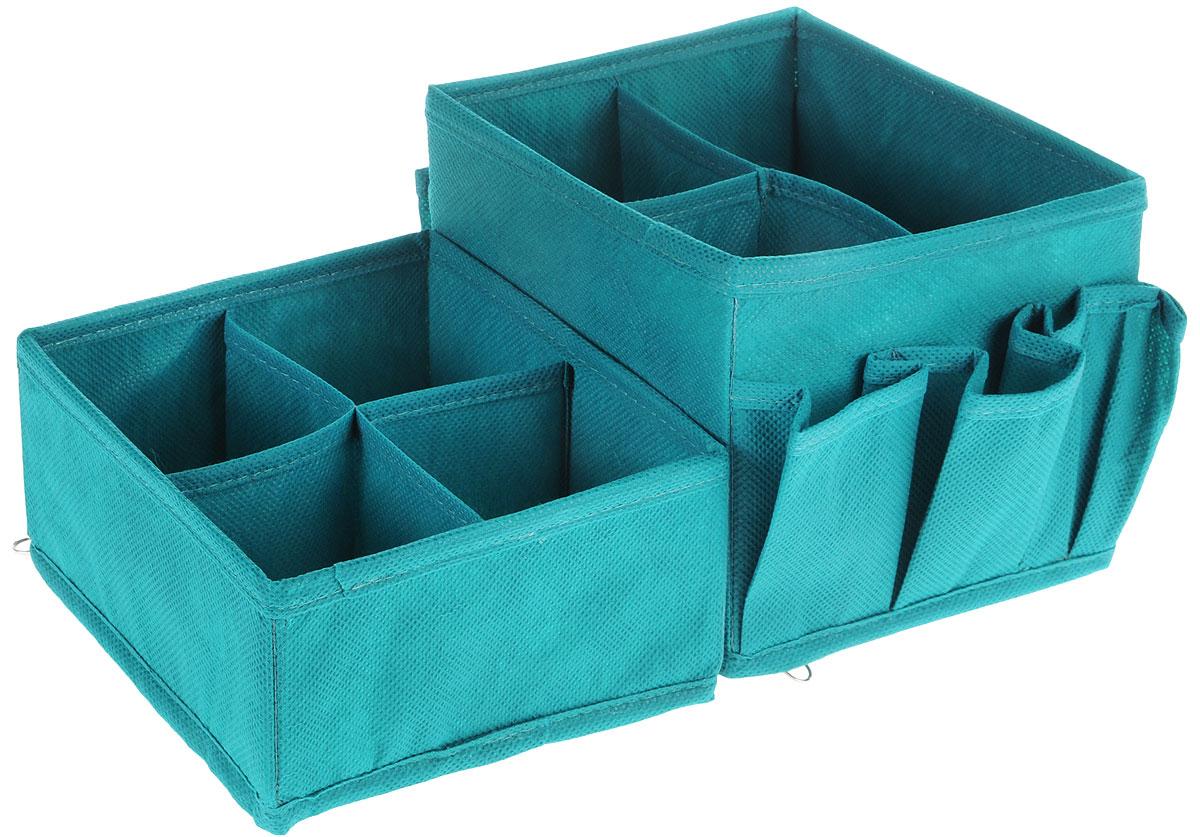 Набор органайзеров для косметики Все на местах Minimalistic, цвет: бирюзовый, 2 предмета1012003Набор состоит из двух органайзеров для хранения косметики и аксессуаров. Изделия выполнены из высококачественного нетканого материала (спанбонда), который обеспечивает естественную вентиляцию, позволяя воздуху проникать внутрь, но не пропускает пыль. Вставки из ПВХ хорошо держат форму. Мягкие перегородки образуют секции для хранения разнообразной косметики. Наружные кармашки позволяют удобно хранить мелкие аксессуары. Изделия отличаются мобильностью: легко раскладываются и складываются. Набор органайзеров для косметики и аксессуаров поможет привести элементы женского туалета в порядок. Оригинальный дизайн придется по вкусу ценительницам эстетичного хранения. Размер органайзеров: 15 см х 15 см х 14 см; 15 см х 15 см х 7 см.