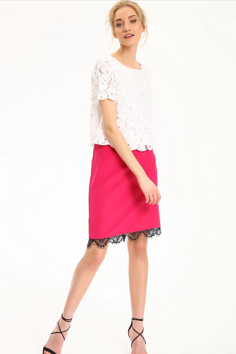 Блузка женская Top Secret, цвет: белый. SBK2220BI. Размер 36 (44)SBK2220BIБлузка женская Top Secret выполнена из полиамида и хлопка. Модель с круглым вырезом горловины и короткими рукавами.