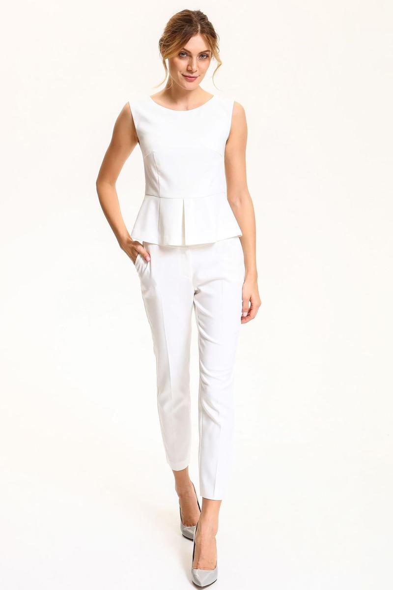 Блузка женская Top Secret, цвет: белый. SBW0332BI. Размер 42 (50)SBW0332BIБлузка женская Top Secret выполнена из высококачественного комбинированного материала. Модель с круглым вырезом горловины сзади застегивается на завязки и застежку-молнию.