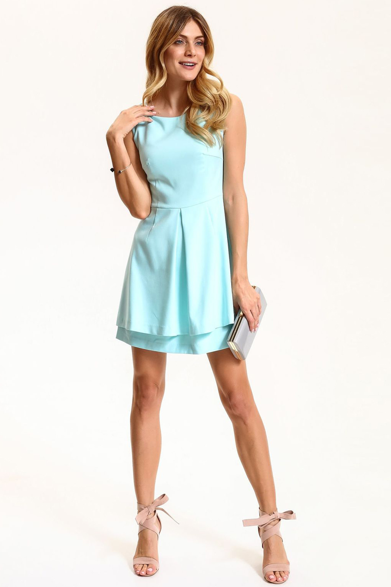 Платье Top Secret, цвет: мятный. SSU1834JZ. Размер 38 (46)SSU1834JZПлатье Top Secret выполнено из полиэстера, вискозы и эластана. Модель с круглым вырезом горловины сзади завязывается на завязки.