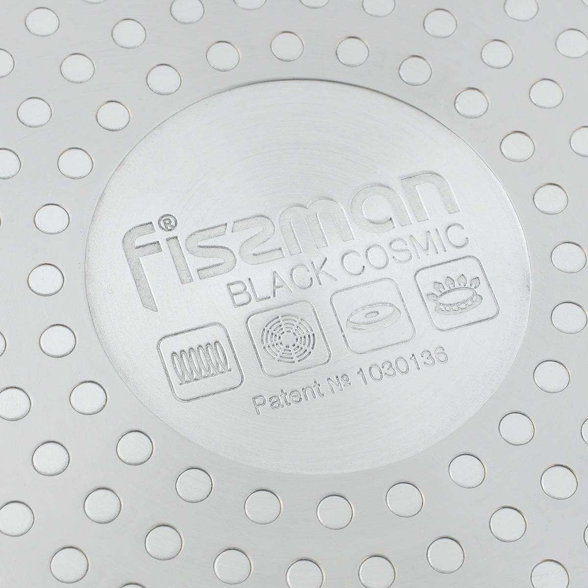 """Сковорода Fissman """"Black Cosmic"""" изготовлена из литого алюминия с  многослойным  сверхпрочным антипригарным покрытием Platinum. Главное его преимущество -  это  нескольких слоев каменной крошки на основе минеральных компонентов. Такое  антипригарное покрытие безопасно для здоровья и окружающей среды.  Сковорода обладает  великолепными антипригарными свойствами, она долговечна и износостойка.  Изделие  имеет съемную ручку, что позволяет использовать его в духовом шкафу.   Стильная,  удобная, долговечная сковорода """"Black Cosmic"""" найдет свое место на любой  кухне. Подходит для использования на газовых, электрических и стеклокерамических  плитах, а также на  индукционных. Можно мыть в посудомоечной машине. Диаметр сковороды: 24 см. Высота стенки: 4,9 см. Длина ручки: 19 см."""