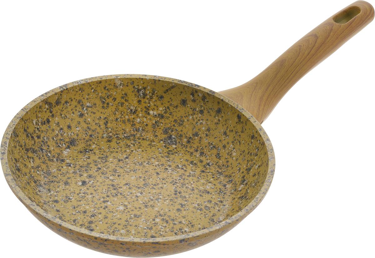 Сковорода Fissman Imperial Gold, с антипригарным покрытием. Диаметр 20 смAL-4358.20Сковорода Fissman Imperial Gold изготовлена из алюминия с многослойным антипригарным покрытием EcoStone, состоящего из нескольких слоев натуральной каменной крошки на основе минеральных компонентов. Такое покрытие долговечно и безопасно для здоровья и окружающей среды, оно обладает великолепными антипригарными свойствами. Сковорода оснащена удобной бакелитовой ручкой, которая не нагревается в процессе приготовления пищи и не скользит в мокрых руках.Сковорода Fissman Imperial Gold создана, чтобы удовлетворить потребности самых взыскательных кулинаров и профессиональных шеф-поваров. Подходит для использования на газовых, электрических и стеклокерамических плитах, а также на индукционных. Можно мыть в посудомоечной машине. Высота стенки: 4,5 см. Длина ручки: 17,5 см.