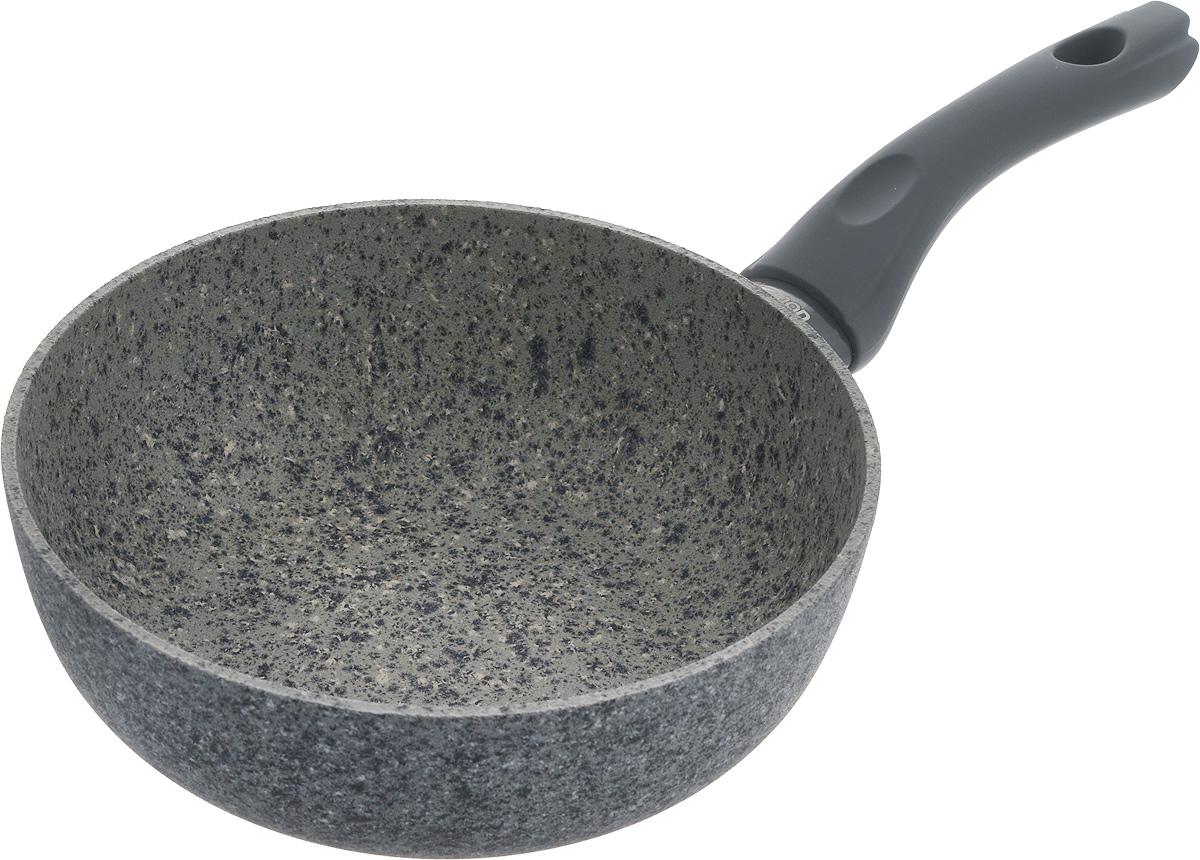 """Сковорода Fissman """"Veneta"""" изготовлена из литого алюминия с многослойным сверхпрочным антипригарным покрытием EcoStone. Главное его преимущество - это нескольких слоев каменной крошки на основе минеральных компонентов. Такое антипригарное покрытие безопасно для здоровья и окружающей среды. Сковорода обладает великолепными антипригарными свойствами, она долговечна и износостойка. Изделие имеет бакелитовую ручку, которая не нагревается и не скользит в руках.  Стильная, удобная, долговечная сковорода """"Veneta"""" найдет свое место на любой кухне.Подходит для использования на газовых, электрических и стеклокерамических плитах, а также на индукционных. Можно мыть в посудомоечной машине.Диаметр сковороды: 20 см.Высота стенки: 7,2 см.Длина ручки: 16,5 см."""