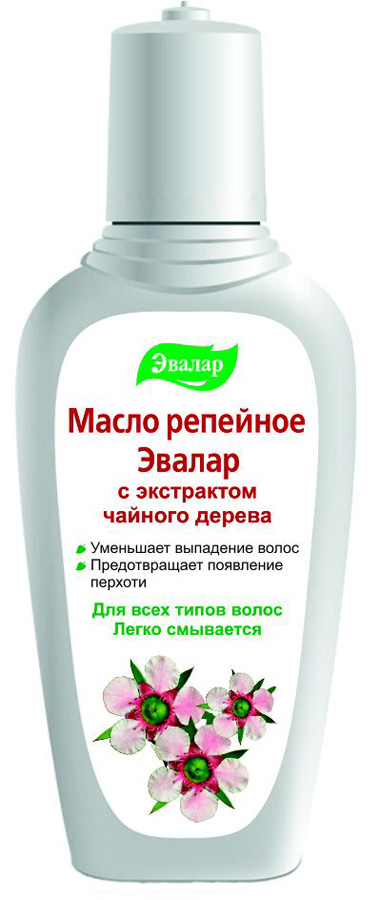 Эвалар Масло репейное с экстрактом чайного дерева 100 мл (антисеборейное)4602242002888Масло австралийского чайного дерева — уникальное сочетание 48 органических элементов. Эфирное масло чайного дерева — прекрасный антисептик. Благодаря высокому содержанию терпенов, обладает сильным бактерицидным и противовоспалительным действием, противовирусной активностью. Антисептический эффект масла чайного дерева используется при зуде, перхоти, выпадении волос. Репейное масло с экстрактом чайного дерева обладает антисеборейным действием, очищает волосяные фолликулы, устраняет повышенную жирность волос.