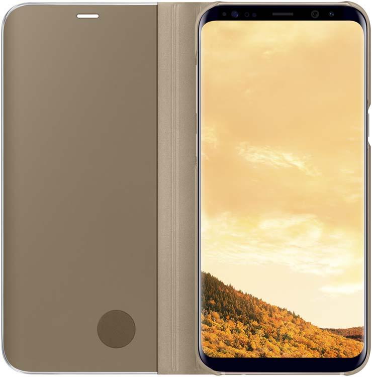 Samsung EF-ZG955C Clear View Standing чехол для Galaxy S8+, GoldEF-ZG955CFEGRUТонкий полупрозрачный чехол Samsung Clear View Standing подчеркивает стиль и изящество смартфона Galaxy S8+. Аксессуар обеспечивает быстрый доступ к функциям – следите за информацией на экране, не открывая чехла. Сквозь прозрачную верхнюю крышку видны время, пропущенные вызовы, индикатор заряда. Флип-кейс отзывчиво реагирует на прикосновения – отвечайте на звонки одним легким движением. Чехол устойчив к появлению отпечатков пальцев – ваш смартфон всегда в аккуратном состоянии. Особое покрытие чехла защищает смартфон от повреждений, продлевая срок его службы.