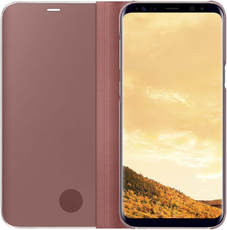 Samsung EF-ZG955C Clear View Standing чехол для Galaxy S8+, PinkEF-ZG955CPEGRUТонкий полупрозрачный чехол Samsung Clear View Standing подчеркивает стиль и изящество смартфона Galaxy S8+. Аксессуар обеспечивает быстрый доступ к функциям – следите за информацией на экране, не открывая чехла. Сквозь прозрачную верхнюю крышку видны время, пропущенные вызовы, индикатор заряда. Флип-кейс отзывчиво реагирует на прикосновения – отвечайте на звонки одним легким движением. Чехол устойчив к появлению отпечатков пальцев – ваш смартфон всегда в аккуратном состоянии. Особое покрытие чехла защищает смартфон от повреждений, продлевая срок его службы.