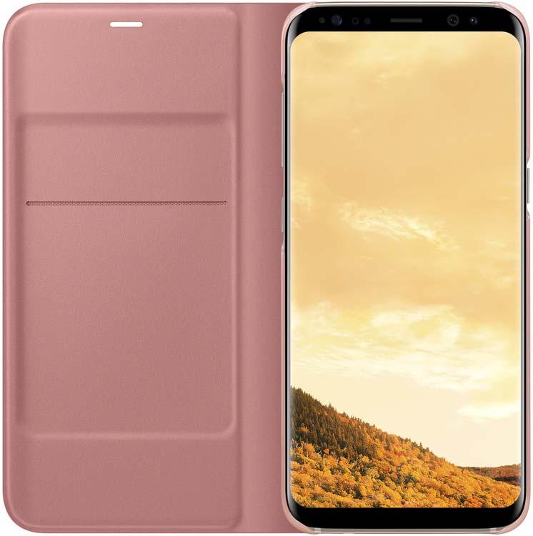 Samsung EF-NG950 LED-View чехол для Galaxy S8, PinkEF-NG950PPEGRUЧехол LED View Cover предназначен для флагмана от Samsung - Galaxy S8. Верхняя крышка флип-кейса оснащена чувствительным сенсором, который реагирует на открытие/закрытие и нажатие кнопки питания. На передней панели чехла отображается текущая информация экрана - время, процент заряда, пропущенные вызовы и смс. Очередная фишка чехла - возможность отвечать на звонки, не открывая его, - просто проведите пальцем по панели, как по экрану. Чехол плотно прилегает к смартфону и предохраняет модель от падений и попадания пыли.