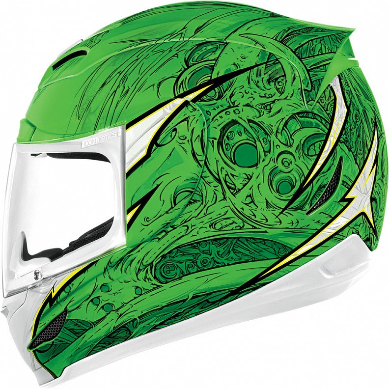 Мотошлем Icon Airmada Sportbike SB1, цвет: зеленый. 0101. Размер S0101-6058Отличное сочетание функциональности и стиля. Этот шлем прекрасно подойдет как длягородской езды, так и для спортивных заездов на треке. За основу взят литойполикарбонатный корпус.Сточки зрения аэродинамики, посадки, вентиляции и комфорта – это совершенно новая модель шлема.Вентиляция так же была улучшена. Теперь у нас 7 каналов для впуска свежего воздуха, и 6 портов для выпуска. Как и в предыдущих моделях, мы имеем каналы в ротовой области, а так же два боковых порта, которые регулируются в нескольких положениях с внутренней стороны шлема. Выше имеется десятимиллиметровый двойной канал, который, как и прежде удобно контролировать – в закрытом или открытом положении. И одна из новинок находится поблизости – двойной регулировочный порт, который в дополнение ко всем предыдущим, направляет потоки свежего непосредственно на лобную часть водителя. Соответственно, горячий воздух выходит через задние порты - два сверху, два по бокам и два с нижней стороны. Еще одним нововведением является - специально разработанный для линейки «Airmada» визор «Optics». Он стал несколько больше чем предшественники, имеет специальное покрытие от запотевания, гибкий и прочный – и что интересно – такой визор дает вам угол обзора на пять градусов больше, чем в предыдущих моделях. Здесь присутствует «Pro - Lock» защита от открывания. И еще одним большим плюсом является то, что визор стало намного легче снимать. Все что нужно – это поднять его до предела, нажать на боковые фиксаторы, и визор без проблем отсоединяется. Чтобы одеть его обратно, вставить визор до щелчка – и закрыть шлем. По сравнению с предыдущими моделями – замена визора теперь становится делом на пару секунд. Все внутренние подушки впитывают влагу, легко снимаются для стирки и устанавливаются аналогичным образом. Используется самая надежная система фиксации – D-образная кольцо-застежка, чтобы шлем ни при каких обстоятельствах не отстегнулся. Съемный дефлекто