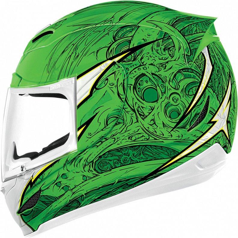 Мотошлем Icon Airmada Sportbike SB1, цвет: зеленый. 0101. Размер M0101-6059Отличное сочетание функциональности и стиля. Этот шлем прекрасно подойдет как длягородской езды, так и для спортивных заездов на треке. За основу взят литойполикарбонатный корпус.Сточки зрения аэродинамики, посадки, вентиляции и комфорта – это совершенно новая модель шлема.Вентиляция так же была улучшена. Теперь у нас 7 каналов для впуска свежего воздуха, и 6 портов для выпуска. Как и в предыдущих моделях, мы имеем каналы в ротовой области, а так же два боковых порта, которые регулируются в нескольких положениях с внутренней стороны шлема. Выше имеется десятимиллиметровый двойной канал, который, как и прежде удобно контролировать – в закрытом или открытом положении. И одна из новинок находится поблизости – двойной регулировочный порт, который в дополнение ко всем предыдущим, направляет потоки свежего непосредственно на лобную часть водителя. Соответственно, горячий воздух выходит через задние порты - два сверху, два по бокам и два с нижней стороны. Еще одним нововведением является - специально разработанный для линейки «Airmada» визор «Optics». Он стал несколько больше чем предшественники, имеет специальное покрытие от запотевания, гибкий и прочный – и что интересно – такой визор дает вам угол обзора на пять градусов больше, чем в предыдущих моделях. Здесь присутствует «Pro - Lock» защита от открывания. И еще одним большим плюсом является то, что визор стало намного легче снимать. Все что нужно – это поднять его до предела, нажать на боковые фиксаторы, и визор без проблем отсоединяется. Чтобы одеть его обратно, вставить визор до щелчка – и закрыть шлем. По сравнению с предыдущими моделями – замена визора теперь становится делом на пару секунд. Все внутренние подушки впитывают влагу, легко снимаются для стирки и устанавливаются аналогичным образом. Используется самая надежная система фиксации – D-образная кольцо-застежка, чтобы шлем ни при каких обстоятельствах не отстегнулся. Съемный дефлекто