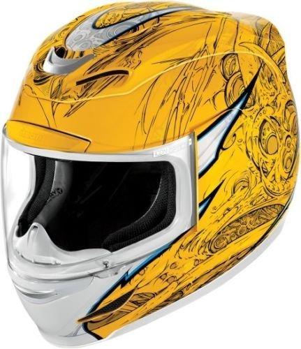 Мотошлем Icon Airmada Sportbike SB1, цвет: желтый. 0101. Размер S0101-6080Отличное сочетание функциональности и стиля. Этот шлем прекрасно подойдет как длягородской езды, так и для спортивных заездов на треке. За основу взят литойполикарбонатный корпус.Сточки зрения аэродинамики, посадки, вентиляции и комфорта – это совершенно новая модель шлема.Вентиляция так же была улучшена. Теперь у нас 7 каналов для впуска свежего воздуха, и 6 портов для выпуска. Как и в предыдущих моделях, мы имеем каналы в ротовой области, а так же два боковых порта, которые регулируются в нескольких положениях с внутренней стороны шлема. Выше имеется десятимиллиметровый двойной канал, который, как и прежде удобно контролировать – в закрытом или открытом положении. И одна из новинок находится поблизости – двойной регулировочный порт, который в дополнение ко всем предыдущим, направляет потоки свежего непосредственно на лобную часть водителя. Соответственно, горячий воздух выходит через задние порты - два сверху, два по бокам и два с нижней стороны. Еще одним нововведением является - специально разработанный для линейки «Airmada» визор «Optics». Он стал несколько больше чем предшественники, имеет специальное покрытие от запотевания, гибкий и прочный – и что интересно – такой визор дает вам угол обзора на пять градусов больше, чем в предыдущих моделях. Здесь присутствует «Pro - Lock» защита от открывания. И еще одним большим плюсом является то, что визор стало намного легче снимать. Все что нужно – это поднять его до предела, нажать на боковые фиксаторы, и визор без проблем отсоединяется. Чтобы одеть его обратно, вставить визор до щелчка – и закрыть шлем. По сравнению с предыдущими моделями – замена визора теперь становится делом на пару секунд. Все внутренние подушки впитывают влагу, легко снимаются для стирки и устанавливаются аналогичным образом. Используется самая надежная система фиксации – D-образная кольцо-застежка, чтобы шлем ни при каких обстоятельствах не отстегнулся. Съемный дефлектор