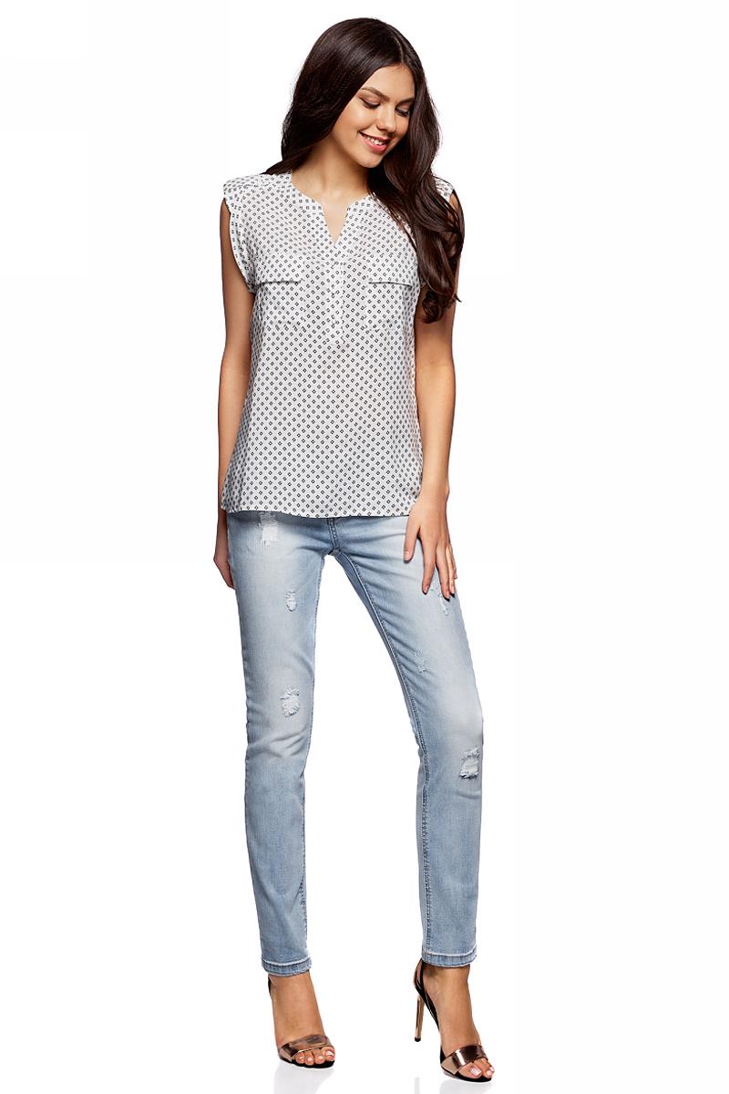 цена Блузка женская oodji Collection, цвет: белый, черный. 21412132-2B/24681/1229G. Размер 42-170 (48-170)