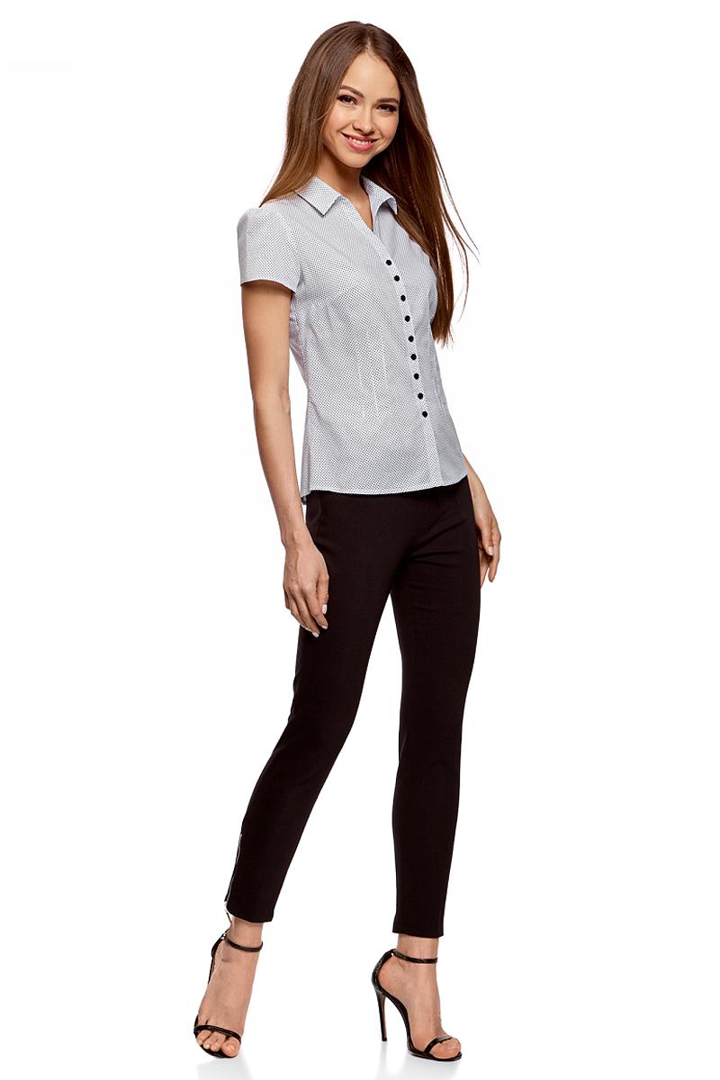 Купить Блузка женская oodji Collection, цвет: белый, черный. 21407022-9/12836/1029D. Размер 36-170 (42-170)