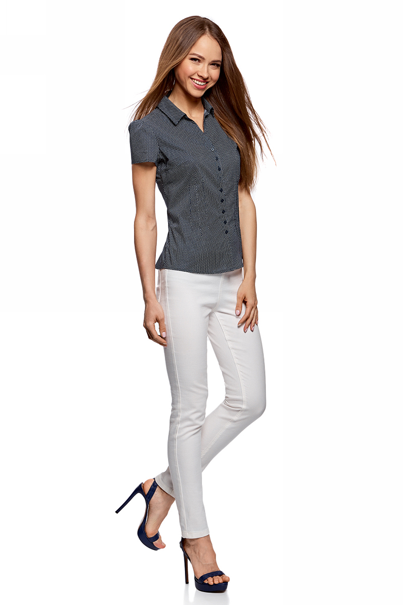 Блузка женская oodji Collection, цвет: темно-синий, белый. 21407022-9/12836/7910D. Размер 46-170 (52-170)  oodji 59807019 1 42301 7910d