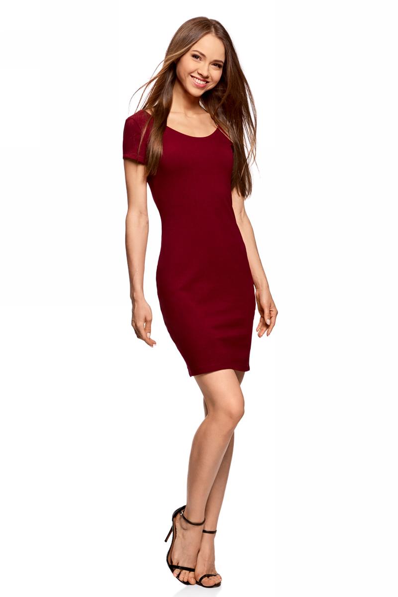 Платье oodji Collection, цвет: бордовый. 24001082-2B/47420/4901N. Размер M (46)24001082-2B/47420/4901NПлатье от oodji облегающего силуэта с глубоким вырезом на спине выполнено из эластичного хлопка. Модель с короткими рукавами.