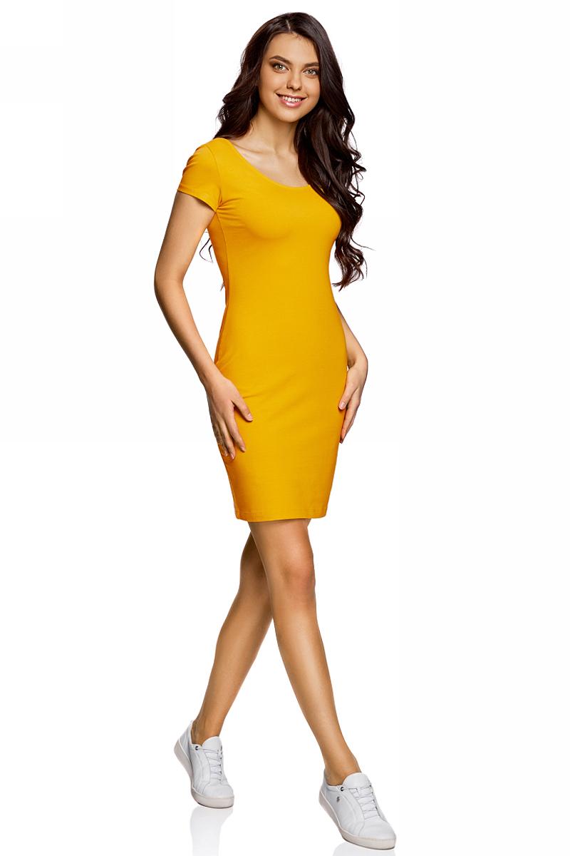 Платье oodji Collection, цвет: горчичный. 24001082-2B/47420/5700N. Размер L (48)24001082-2B/47420/5700NПлатье от oodji облегающего силуэта с глубоким вырезом на спине выполнено из эластичного хлопка. Модель с короткими рукавами.