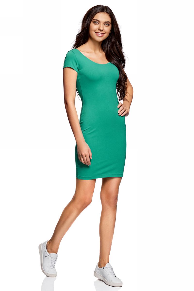 Платье oodji Collection, цвет: изумрудный. 24001082-2B/47420/6D00N. Размер L (48)24001082-2B/47420/6D00NПлатье от oodji облегающего силуэта с глубоким вырезом на спине выполнено из эластичного хлопка. Модель с короткими рукавами.