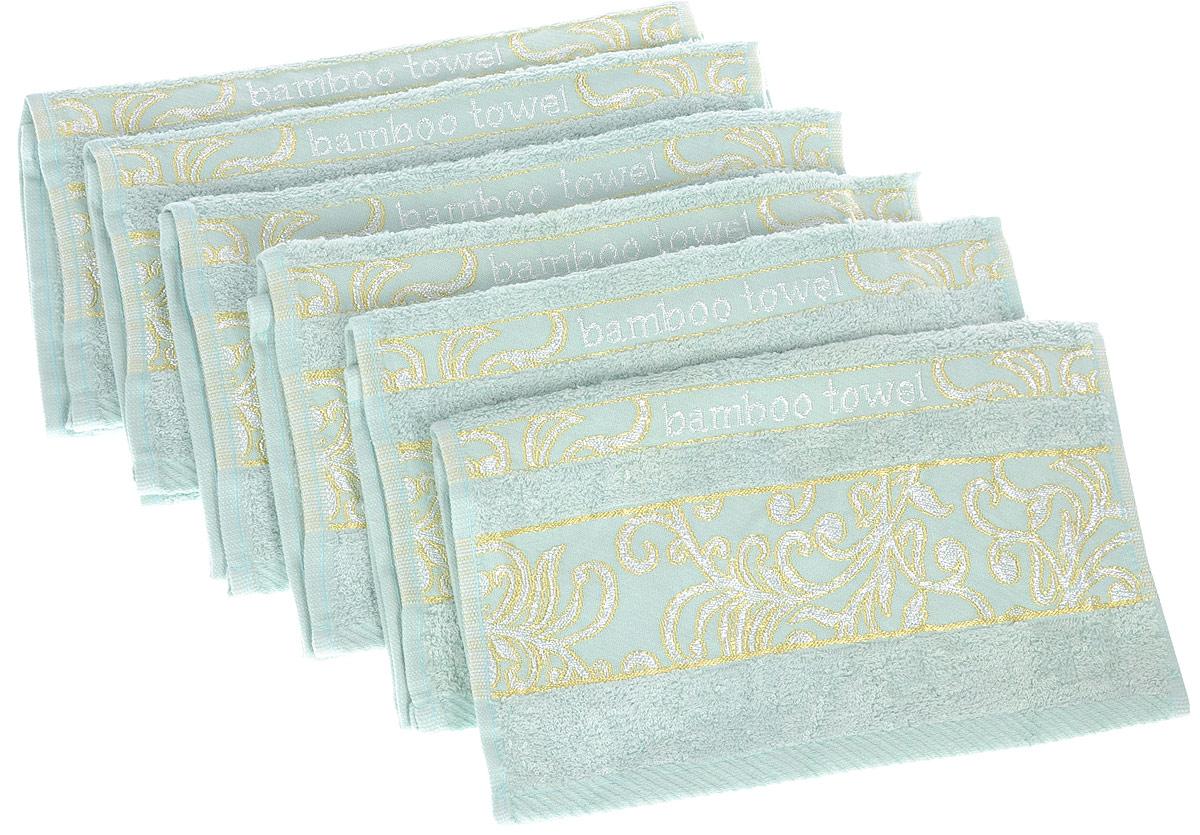 Набор полотенец Brielle Bamboo. Jacquard, цвет: мятный, 30 х 50 см, 6 шт707762Набор Brielle Bamboo. Jacquard состоит из шести полотенец, выполненных избамбука с содержанием хлопка.Изделия очень мягкие, они отлично впитывают влагу, быстро сохнут, сохраняютяркость цвета и не теряют формы даже после многократных стирок. Одна избоковых сторон оформлена оригинальным узором и надписью.Полотенца Brielle Bamboo. Jacquard очень практичны и неприхотливы в уходе.Такой набор послужит приятным подарком.
