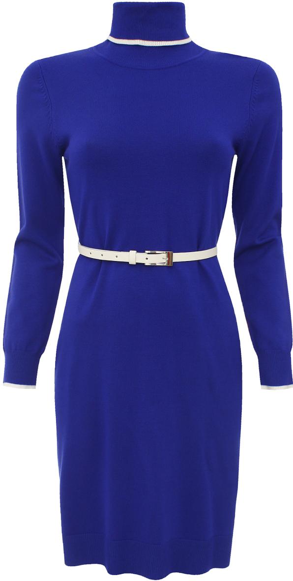 Платье oodji Collection, цвет: синий. 73912186/31361/7500N. Размер 36 (42)73912186/31361/7500NТрикотажное платье oodji изготовлено из качественного смесового материала. Модель выполнена с высоким воротником и дополнена тонким ремешком. Низ изделия и рукава оформлены вязаными резинками.