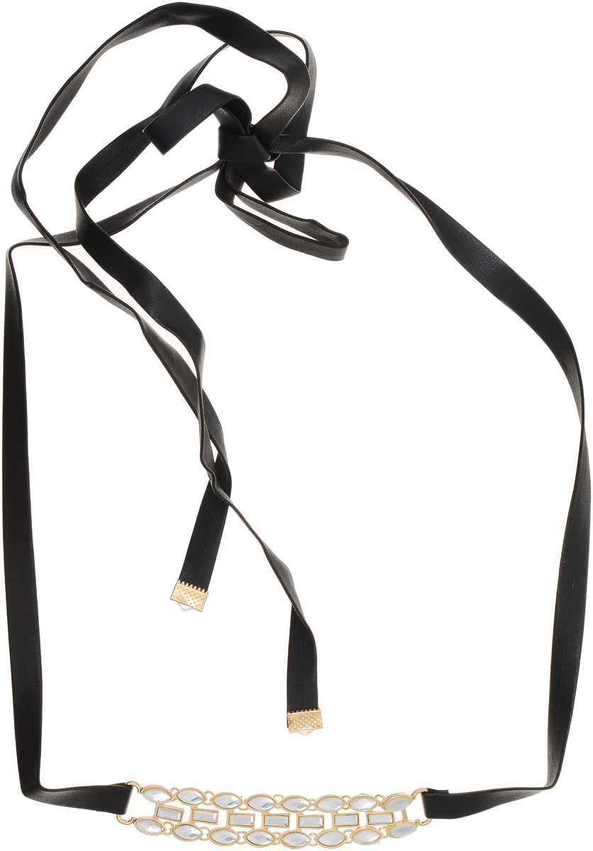 Колье Taya, цвет: черный, прозрачный. T-B-1264239893 Бусы-ошейникПрименительно к украшению чокером называют ожерелье, плотно обтягивающее шею. Так как длина кожаного ремня достаточно большая, данное украшение можно завязывать сзади бантом, а можно сделать несколько оборотов на шею.