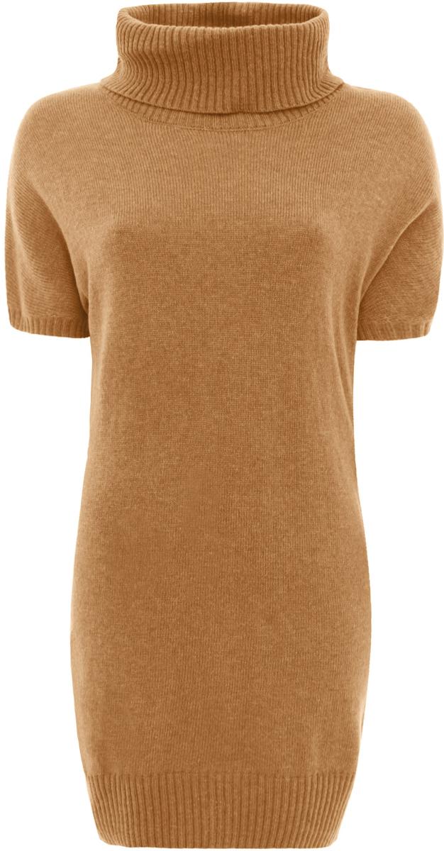Платье oodji Ultra, цвет: темно-бежевый. 63907060/35057/3500N. Размер 42 (48)63907060/35057/3500NТрикотажное платье oodji изготовлено из качественного смесового материала. Облегающая модель выполнена с объемным воротником-гольф и короткими рукавами.