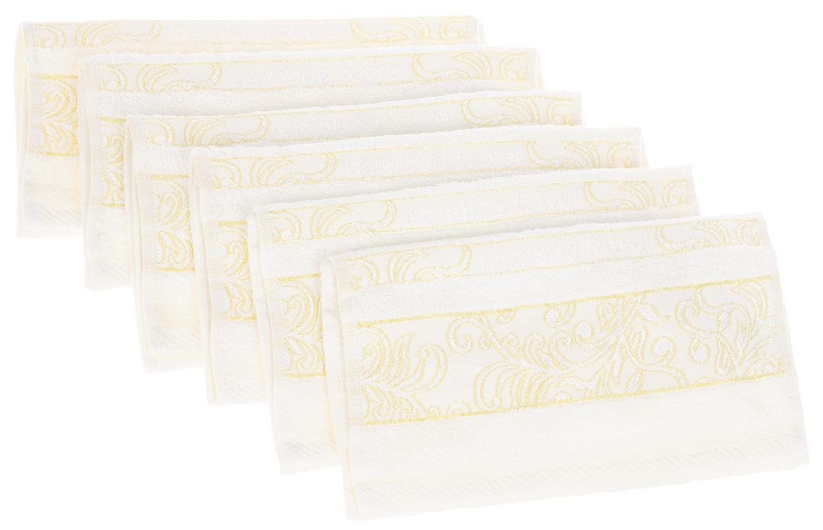 Набор полотенец Brielle Bamboo. Jacquard, цвет: кремовый, 30 х 50 см, 6 шт1651/CHAR001Набор Brielle Bamboo. Jacquard состоит из шести полотенец, выполненных из бамбука с содержанием хлопка. Изделия очень мягкие, они отлично впитывают влагу, быстро сохнут, сохраняют яркость цвета и не теряют формы даже после многократных стирок. Одна из боковых сторон оформлена оригинальным узором и надписью. Полотенца Brielle Bamboo. Jacquard очень практичны и неприхотливы в уходе. Такой набор послужит приятным подарком.