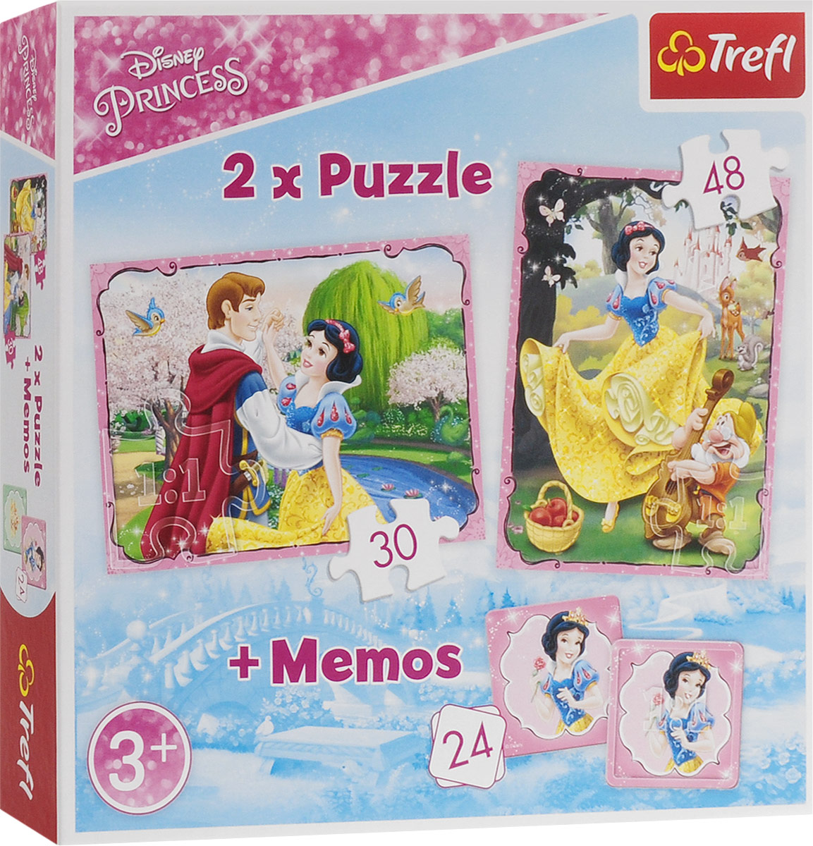 Trefl Пазл для малышей Влюбленная Белоснежка 2 в 1 + 24 карточки мемори стоимость