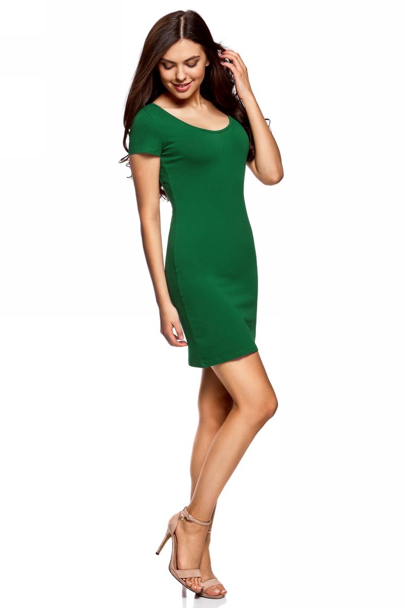 Платье oodji Ultra, цвет: темно-изумрудный. 14001182B/47420/6E00N. Размер L (48)14001182B/47420/6E00NОблегающее платье oodji Ultra выполнено из качественного трикотажа. Модель мини-длины с круглым вырезом горловиныи короткими рукавами выгодно подчеркивает достоинства фигуры.