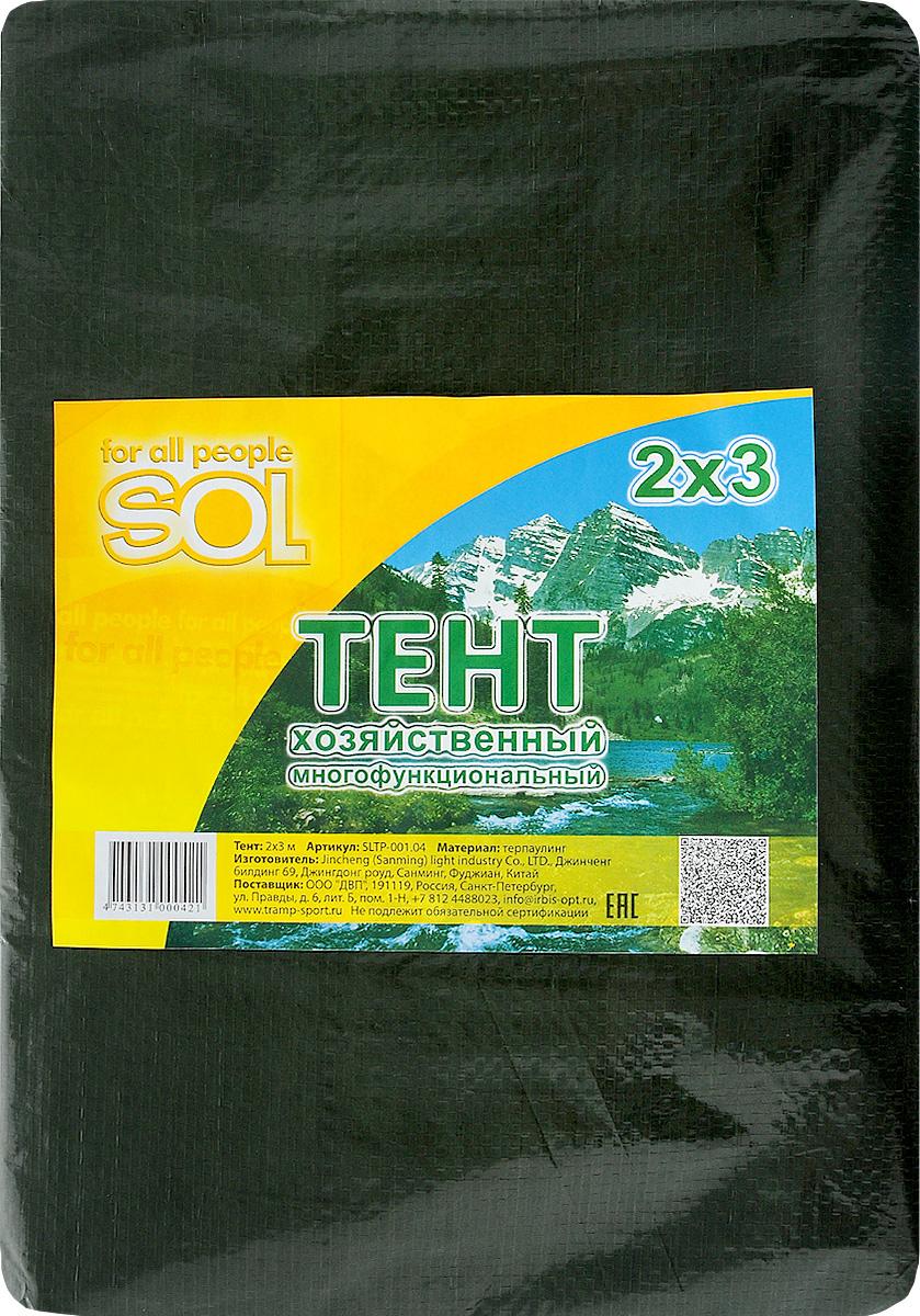 Тент терпаулинг Sol, цвет: темно-зеленый, 2 х 3 мSLTP-001.04Тент терпаулинг Sol изготовлен из высокосортного водонепроницаемого полиэтиленового сырья. По краю пропущен усиливающий капроновый шпагат и установлены металлические люверсы, благодаря которым тент можно монтировать на каркасную основу или использовать для свободного укрытия объектов. Тент используется для укрытия стройматериалов от дождя и снега, для сооружения временных навесов, для закрытия оконных проемов, для укрытия грузов, прицепов, автомашин, в качестве навесов, палаток, подстилок в походах, на отдыхе.Размер: 2 х 3 м.