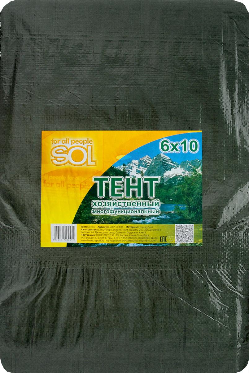 Тент терпаулинг Sol, цвет: темно-зеленый, 6 х 10 мSLTP-004.04Тент терпаулинг Sol изготовлен из высокосортного водонепроницаемого полиэтиленового сырья. По краю пропущен усиливающий капроновыйшпагат и установлены металлические люверсы, благодаря которым тент можно монтировать на каркасную основу или использовать длясвободного укрытия объектов. Тент используется для укрытия стройматериалов от дождя и снега, для сооружения временных навесов, для закрытия оконных проемов, дляукрытия грузов, прицепов, автомашин, в качестве навесов, палаток, подстилок в походах, на отдыхе. Размер: 6 х 10 м.