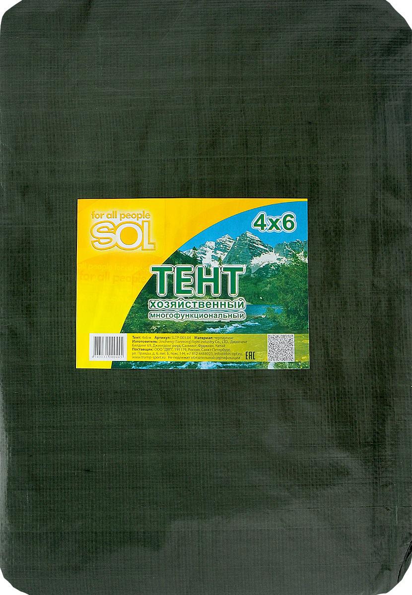 Тент терпаулинг Sol, цвет: темно-зеленый, 4 х 6 мSLTP-003.04Тент терпаулинг Sol изготовлен из высокосортного водонепроницаемого полиэтиленового сырья. По краю пропущен усиливающий капроновый шпагат и установлены металлические люверсы, благодаря которым тент можно монтировать на каркасную основу или использовать для свободного укрытия объектов. Тент используется для укрытия стройматериалов от дождя и снега, для сооружения временных навесов, для закрытия оконных проемов, для укрытия грузов, прицепов, автомашин, в качестве навесов, палаток, подстилок в походах, на отдыхе.Размер: 4 х 6 м.