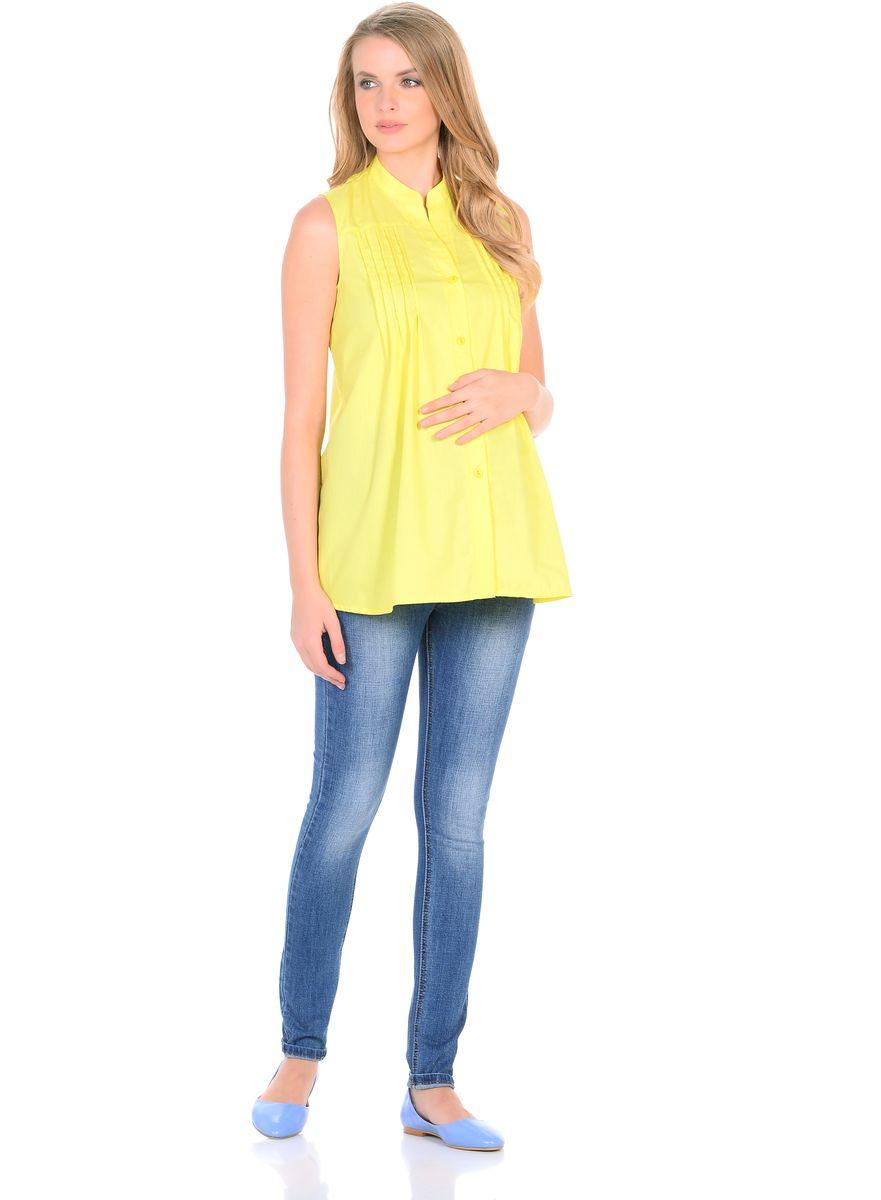 Блузка для беременных 40 недель, цвет: желтый. 215207. Размер 42215207Стильная блузка для беременных от бренда 40 недель изготовлена из тонкого, приятного к телу материала с высоким содержанием хлопка. Модель трапециевидного силуэта, без рукавов, с воротником-стойкой. Передняя планка застегивается на пуговицы. На полочках для декора предусмотрен ряд вертикальных защипов от высокой кокетки. Универсальный фасон обеспечивает комфорт в период беременности, а после рождения малыша - скрывает временные несовершенства фигуры. Планка на пуговицах удобна в момент грудного кормления. Блузка отлично смотрится с джинсами, разнообразными брюками, шортами и юбками.
