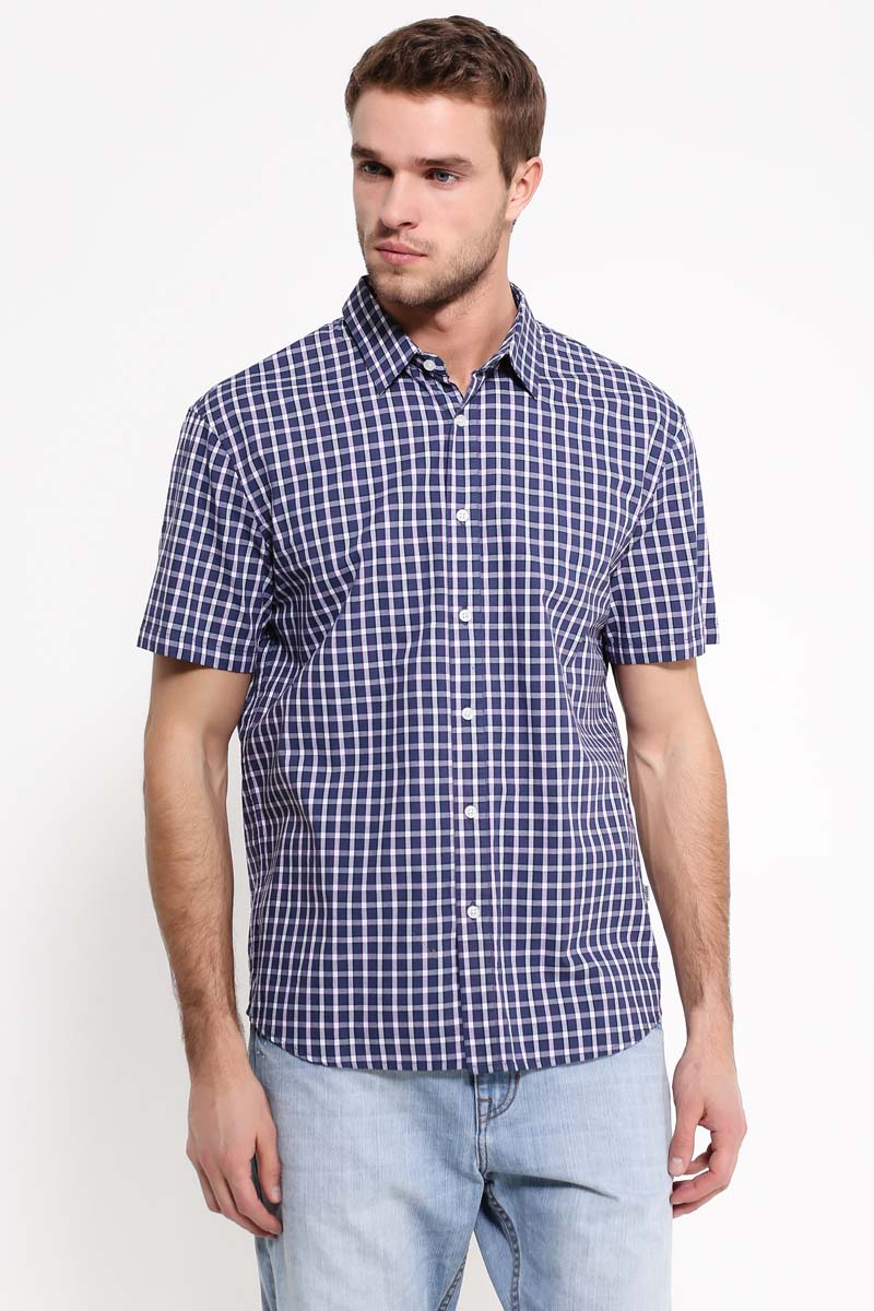 цена на Рубашка мужская Finn Flare, цвет: темно-синий. S17-22013_101. Размер XXL (54)