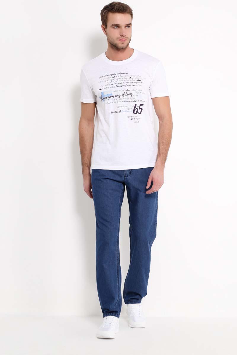 Футболка мужская Finn Flare, цвет: белый. S17-24028_201. Размер M (48) футболка мужская finn flare цвет белый s17 22027 201 размер m 48