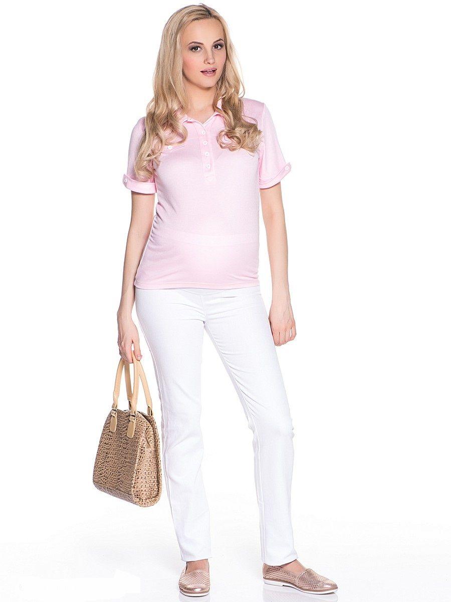 Футболка-поло для беременных 40 недель, цвет: розовый. 21301. Размер 44