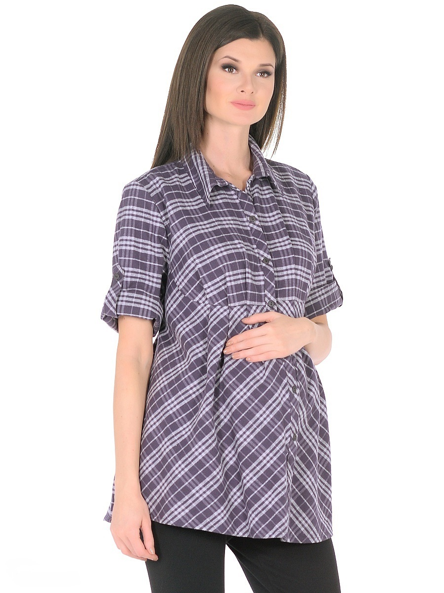 Блузка для беременных 40 недель, цвет: темно-фиолетовый. 211225/1. Размер 56211225/1Женственная блузка для беременных женщин изготовлена из мягкого трикотажа в клетку. Модель свободного силуэта от кокетки, с рукавами 3/4 и классическим отложным воротником, передняя планка застегивается на пуговицы. Втачными завязками можно регулировать силуэт по мере изменения телосложения в период беременности, а после рождения малыша такой фасон скроет временные несовершенства фигуры. Рукава дополнены хлястиками с пуговицами для изменения длинны. Материал приятный на ощупь, очень мягкий и согревающий, практичный и износостойкий. Такая блузка отлично смотрится и комбинируется практически с любыми предметами повседневного гардероба.