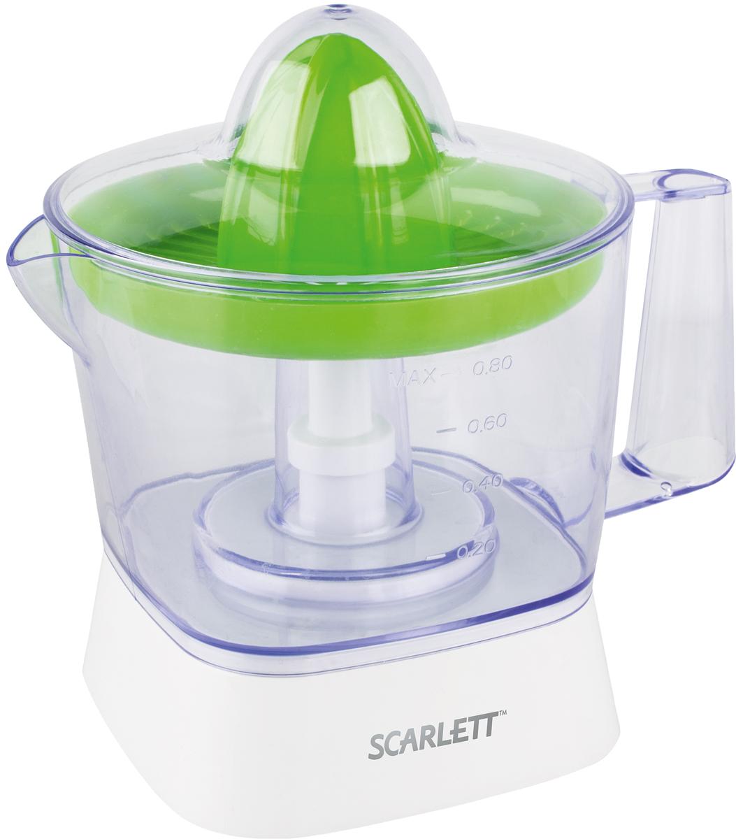 Scarlett SC-JE50C05, Green соковыжималкаSC-JE50C05Компактная соковыжималка Scarlett SC-JE50C05 не займёт много места на кухне. Её можноустановить в любом удобном месте.Объём резервуара для сока составляет 800 мл. Резервуар съёмный, оснащён ручкой иносиком, поэтому его можно использовать для подачи сока на стол, наливания его встаканы, а также для хранения. На стенки нанесена градуировка, помогающая понять,сколько сока находится в ёмкости.Соковыжималка работает в импульсном режиме, это обеспечивает особеннуюэффективность, позволяет выжать из каждого плода максимум сока.