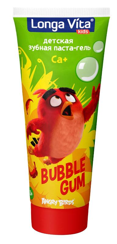 Longa Vita детская зубная паста Angry Birds Bubble Gum от 3-х лет, 75 гр131085- Крепкая эмаль и защита от кариеса!- Активный кальций укрепляет эмаль, а фтор надежно защищает от кариеса.- Витамины А и Е помогают противостоять бактериям и нежно ухаживают за полостью рта.Изготовлено по рецептурам компании DENTAL-Kosmetik GmbH & Co. KG, Германия.