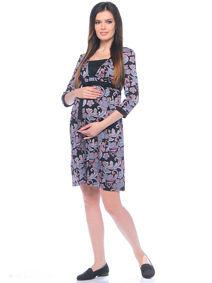 Платье для беременных 40 недель, цвет: черный, голубой, сиреневый. 300305. Размер 48 платье для беременных topshop 4 25