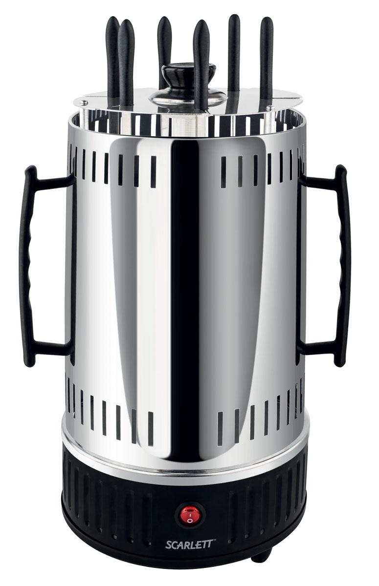 Scarlett SC-KG22601, Black электрошашлычницаSC-KG22601Электрошашлычница Scarlett SC-KG22601 будет отличным приобретением для всех любителей полакомиться свежим шашлыком.Шампуры выполнены из качественных материалов, которые абсолютно безопасны и никоим образом не влияют на вкус приготовленных блюд. Технологией приготовления является тепловая обработка продуктов, которая сохраняет множество витаминов и оставляет блюда здоровыми.Встроенный механизм вращения шампуров обеспечивает равномерное прожаривание и сочность мясных блюд. Электрошашлычница может служить не только для приготовления шашлыка из мяса, но и из рыбы или овощей, а также шаурмы, сарделек, сосисок, картошки, курицы-гриль, гренок и других блюд.